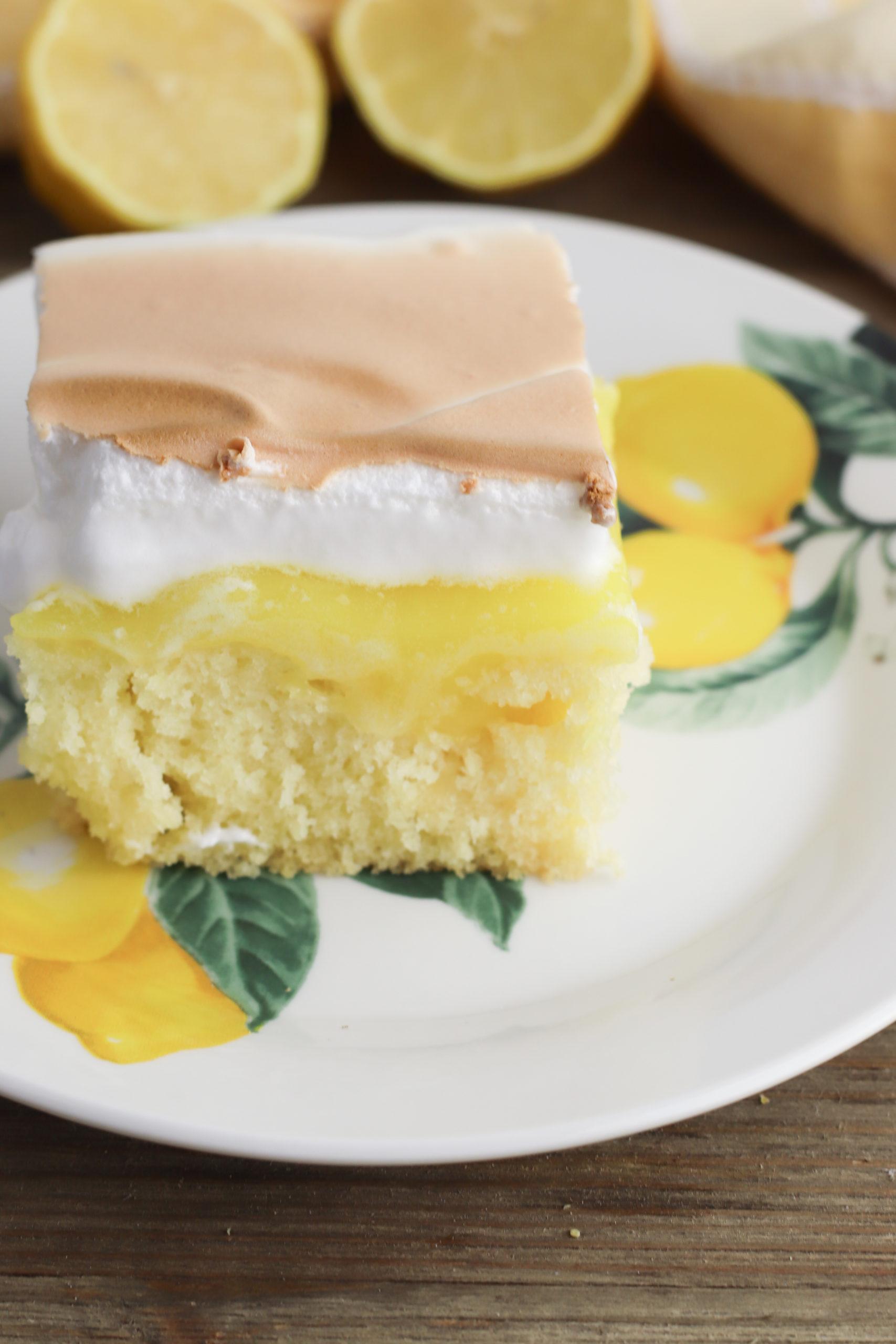 Close up on lemon cake.