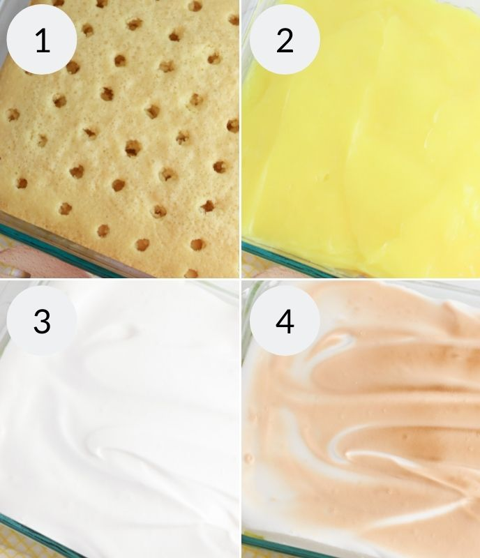 Creating the layers of lemon meringue poke cake.