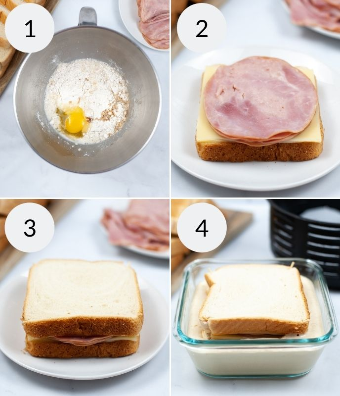 Making the pancake batter, building the sandwich with meat and cheese, toping the sandwich and soaking in batter.