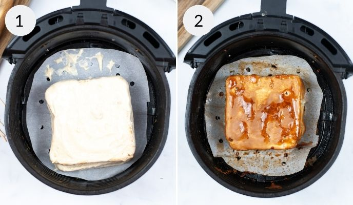 Sandwich in airfryer before and after cooking.