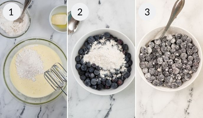 Mix before the blueberry muffins and after the blueberries have been mixed through.