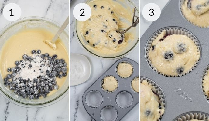 Blueberry Muffin batter and being placed in a muffin tin and after baking in the tins.
