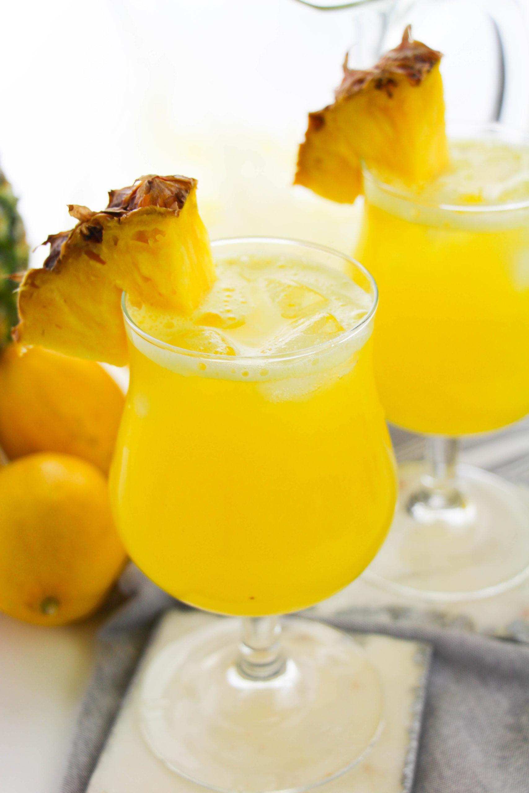 Side view of pineapple lemonade.