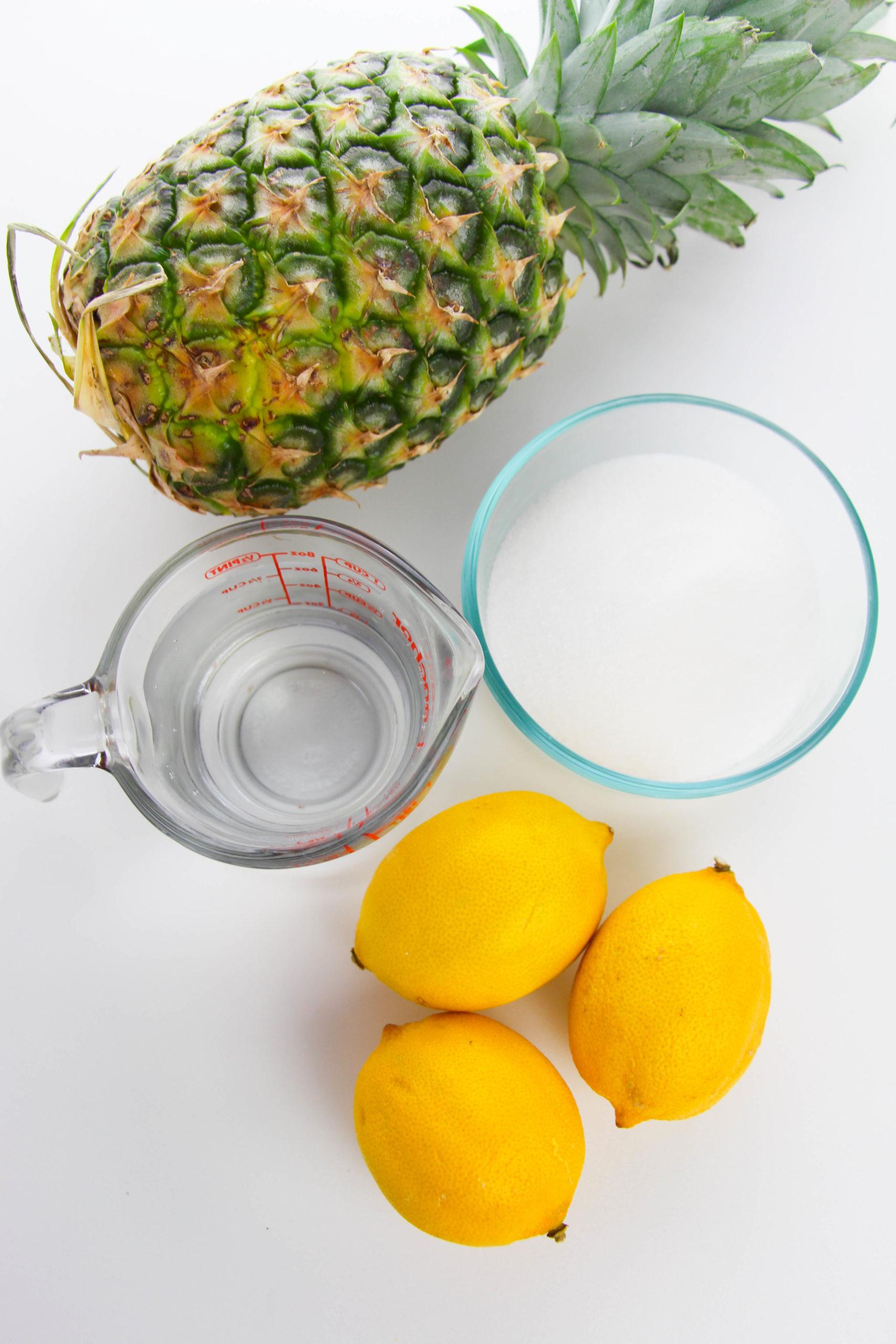 Pineapple lemons water and sugar.