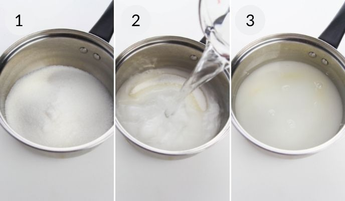 Making simple syrup from sugar and water.