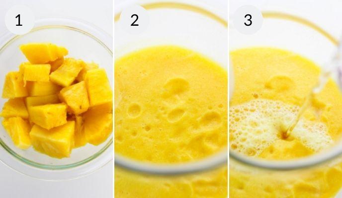 Pealed pineapple and lemon to make lemonade.