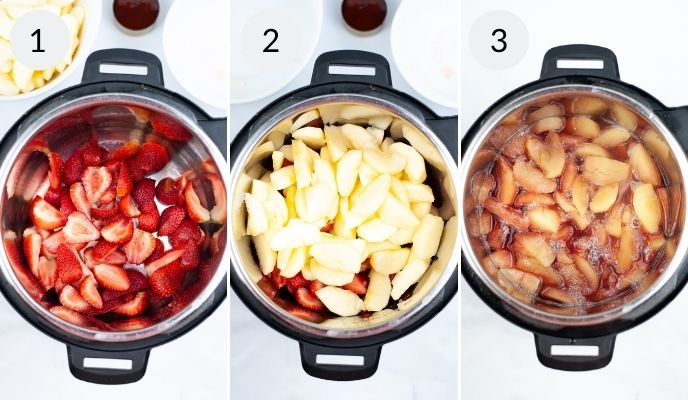 Strawberries in instant pot, next to apples in instant pot and finally the finished product.