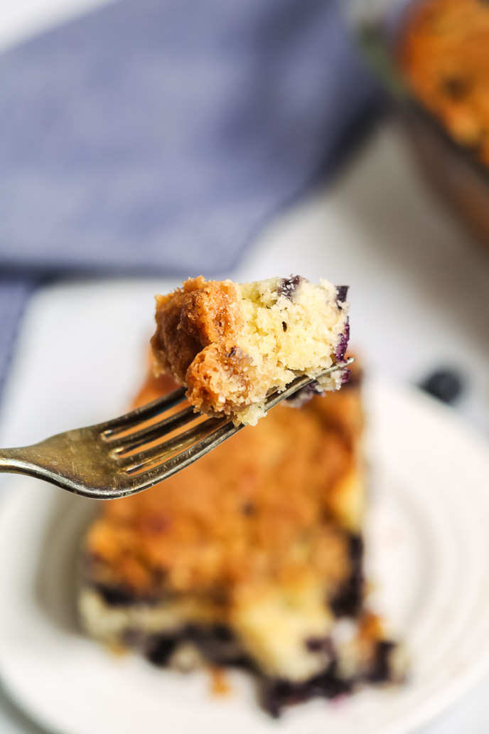 blueberry coffee cake on a fork