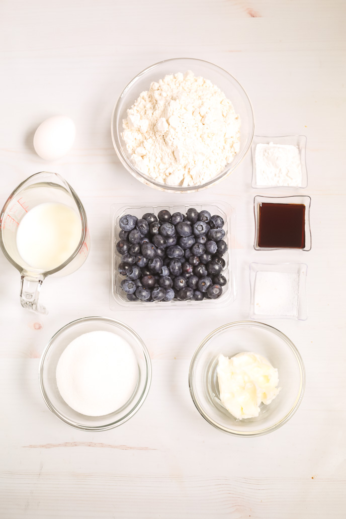 Ingredients for blueberry coffee cake