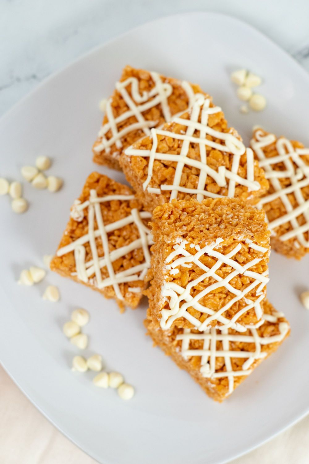 Pumpkin Rice Krispie Treats pictured from the top.