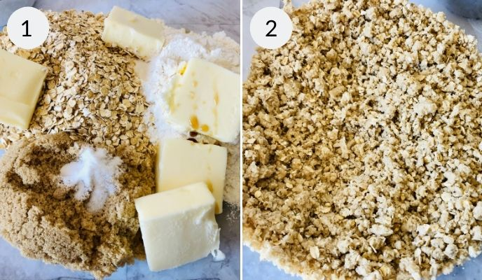 Apple Crisp Bars mixing the oats and buuter.