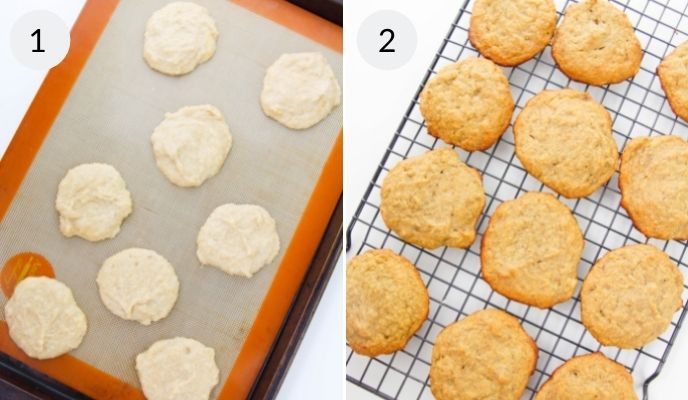 Cookies on a lined cookie sheet  before baking and after cooking on a cooling wrack.