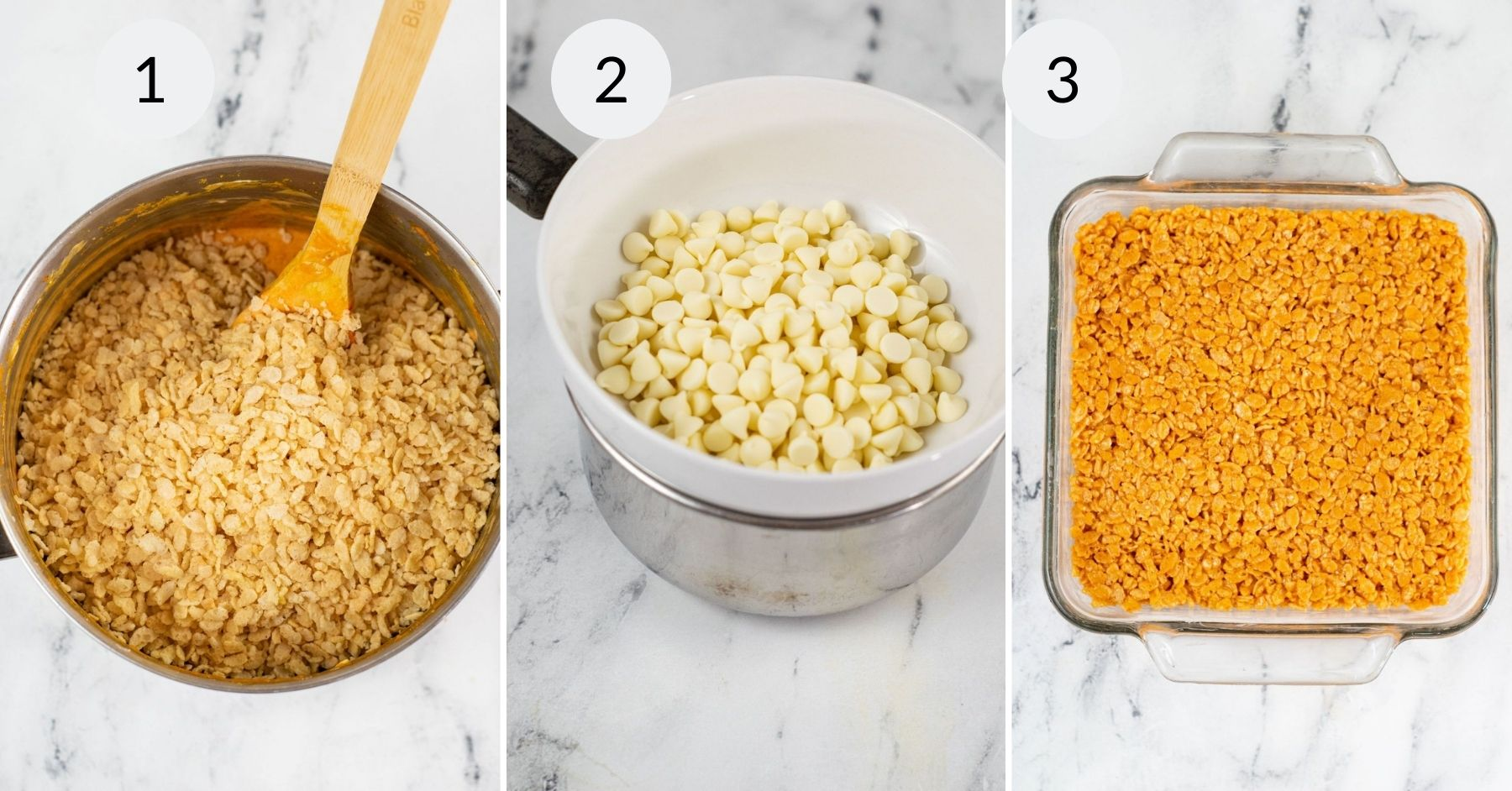 Mixing the krispies in with the melted marshmallow and pressed into the pan.