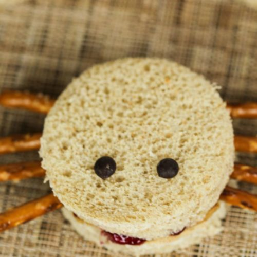 Spider Sandwiches in close up from the top.