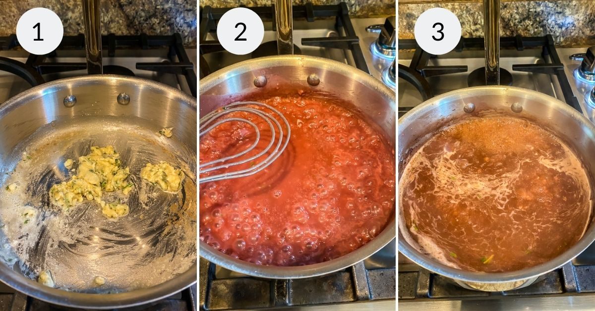 Melting the butter and mixing in flour and seasonings.