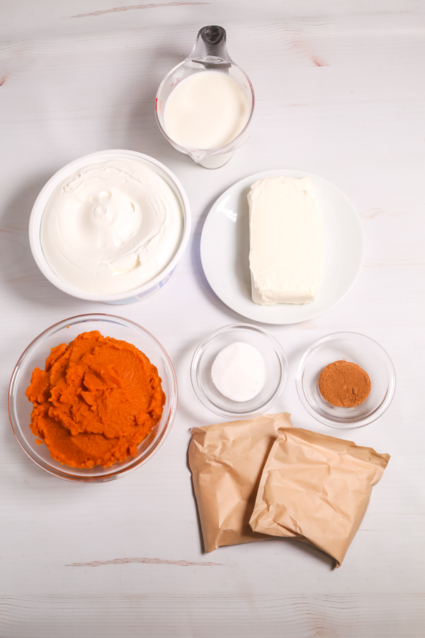 Crust, pumpkin, cram cheese and spices needed to make pie.