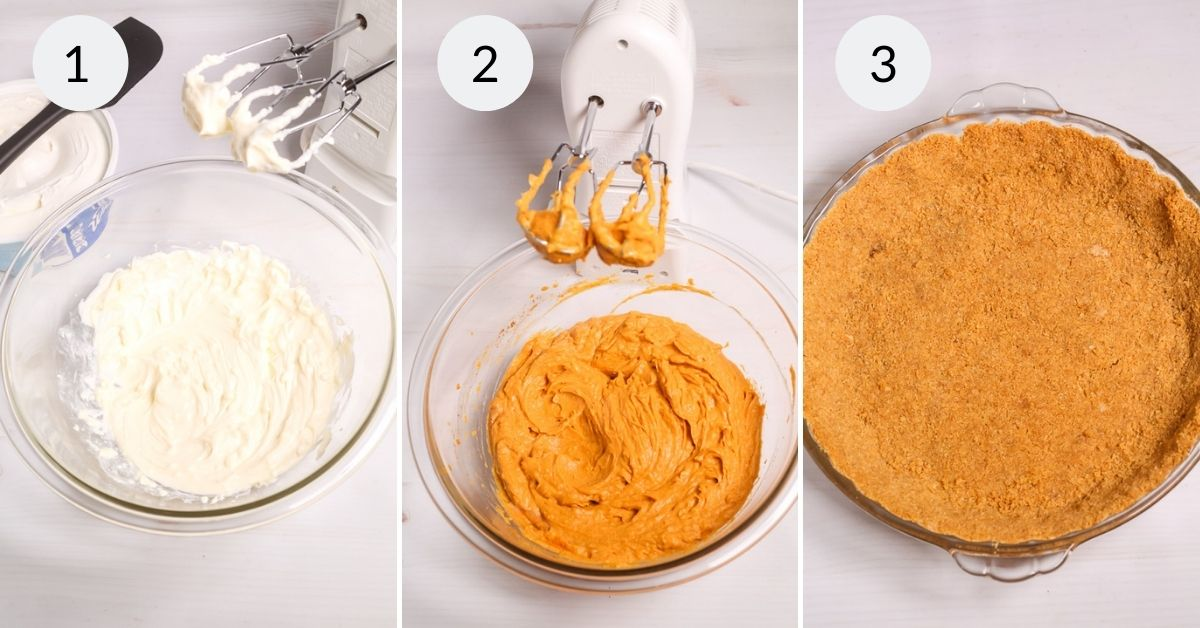Taking the pudding and the pie filling and mixing it.