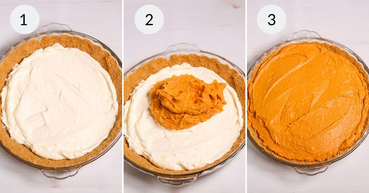 Filling the pie crust with the cream cheese mixture and the pumpkin mixture.