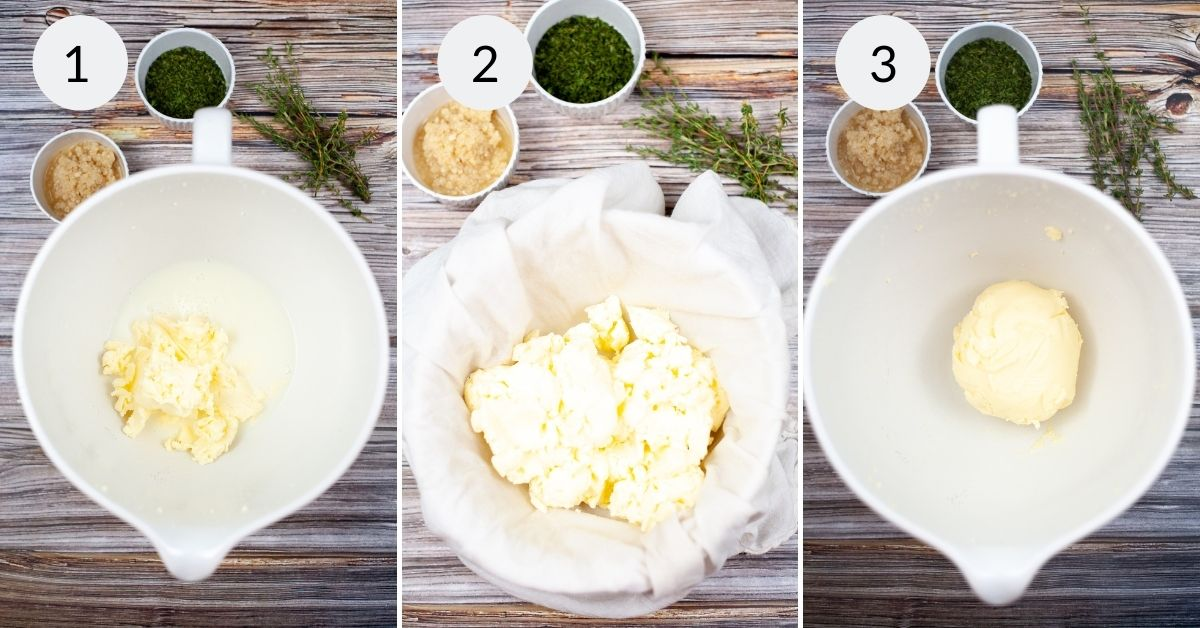 Ingredients in a bowl before and after mixing.