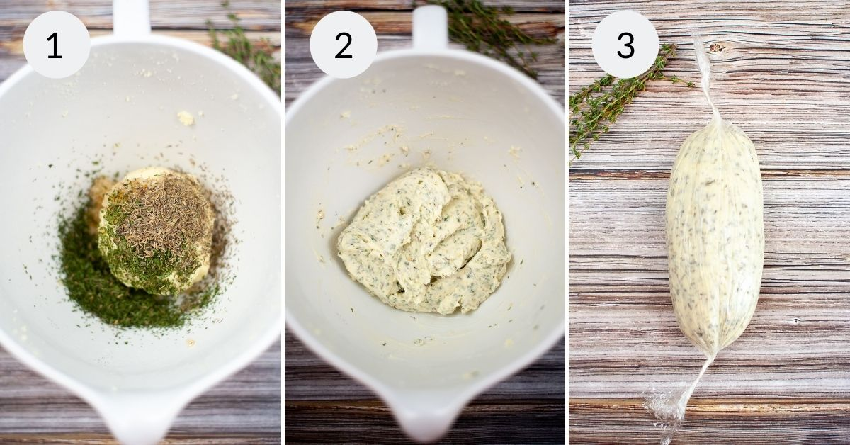 Butter with herbs and garlic added. Then mixed and then the final butter wrapped in parchment.